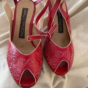 Vintage Maud Frizon red&white rockabilly heels